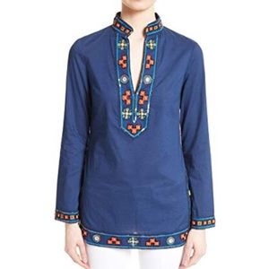 NEW Tory Burch Embellished Tory Tunic Navy 2